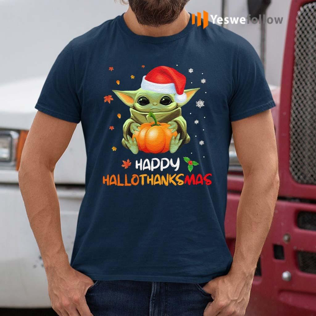 Baby-Yoda-Happy-Hallothanksmas-T-Shirts
