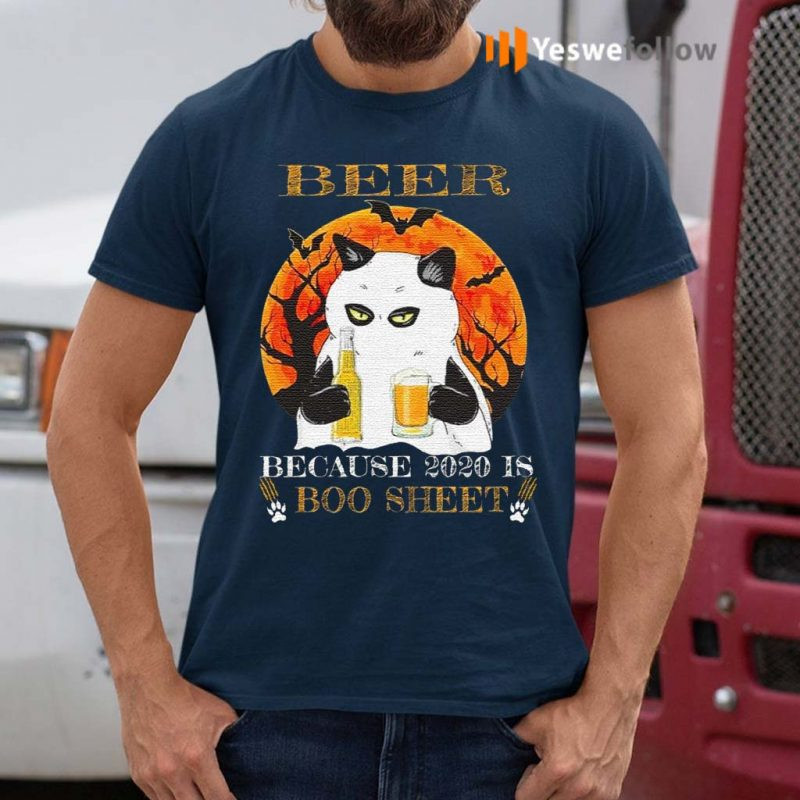 Beer-Because-2020-Is-Boo-Sheet-Cat-T-Shirt