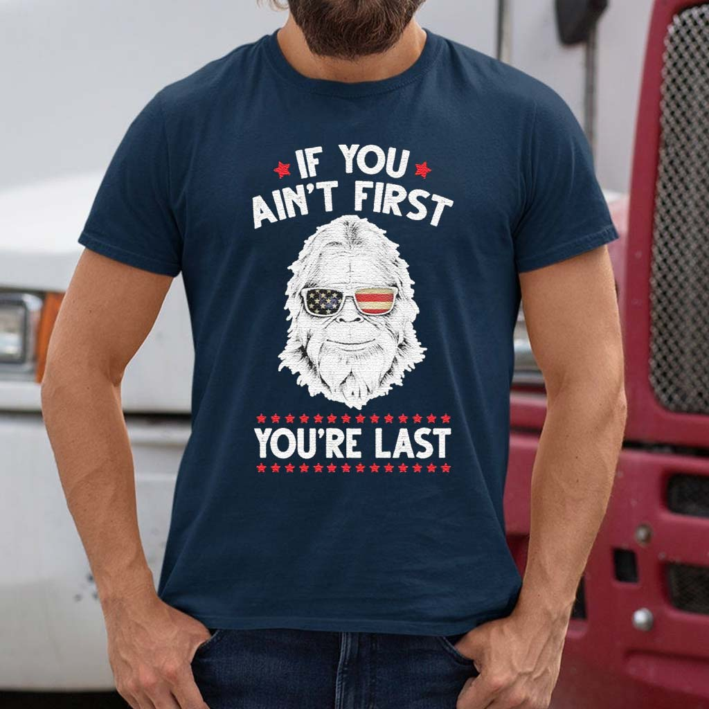 Bigfoot-face-If-You-ain't-first-You're-last-American-flag-tshirts
