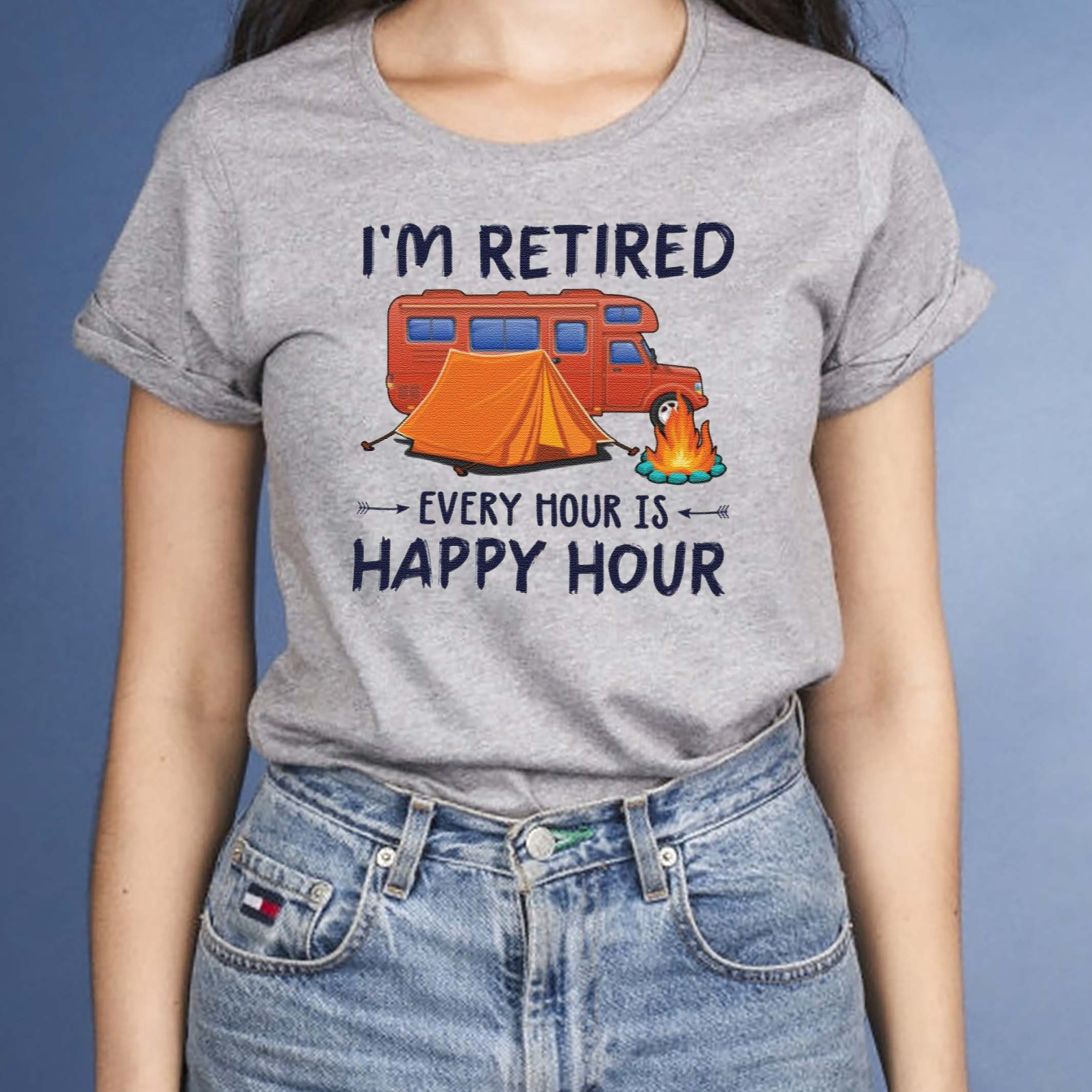 Camping-i'm-retired-every-hour-is-happy-hour-shirt