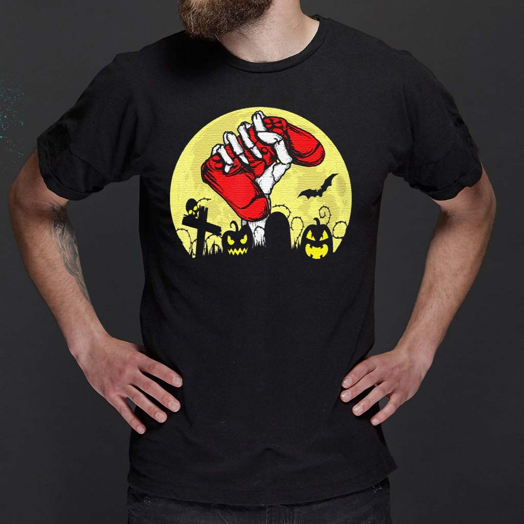 Halloween-Skeleton-Hand-Video-Gamer-Controllers-Classic-T-Shirt