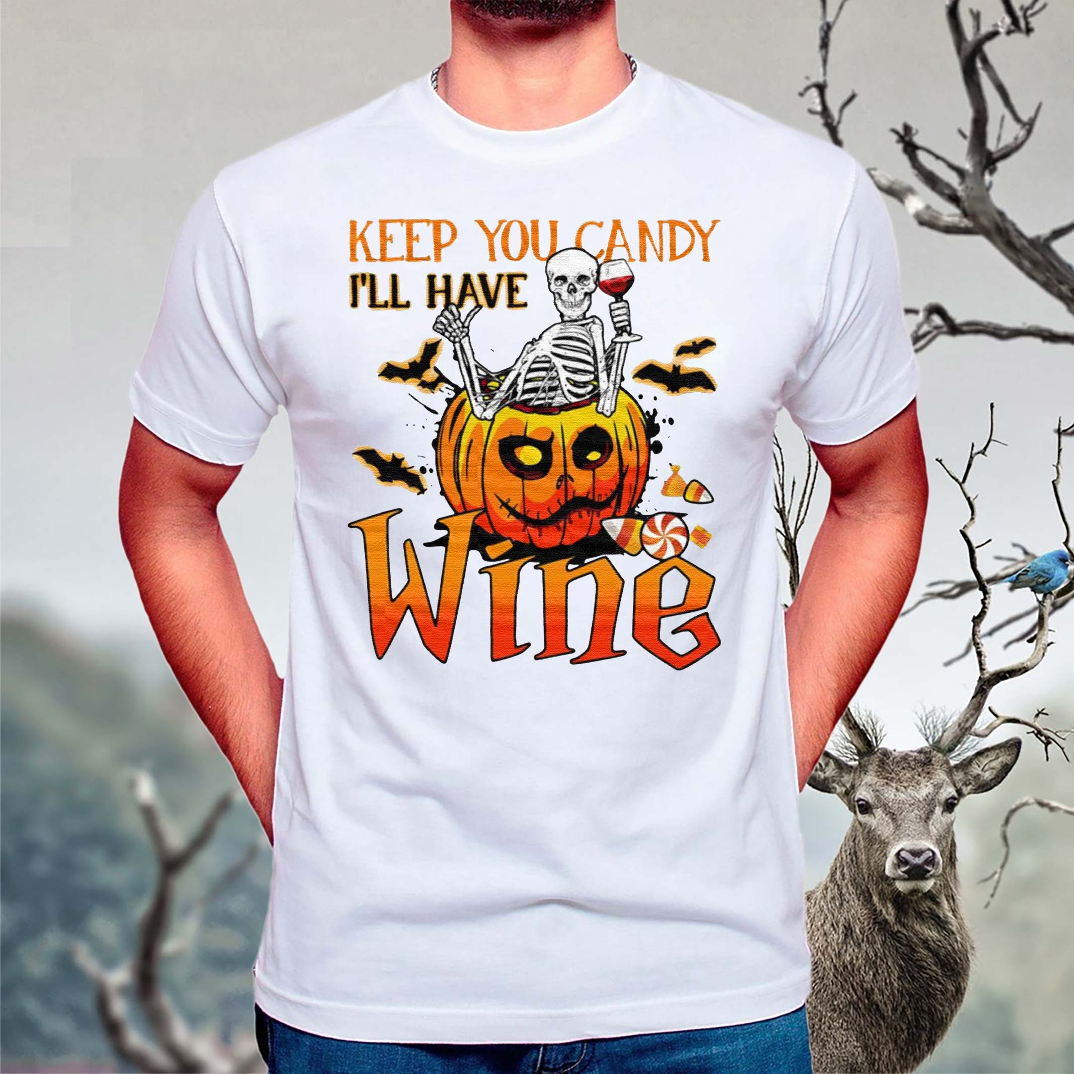 Halloween-Skeleton-Keep-You-Candy-Ill-Have-Wine-Pumpkin-T-Shirt