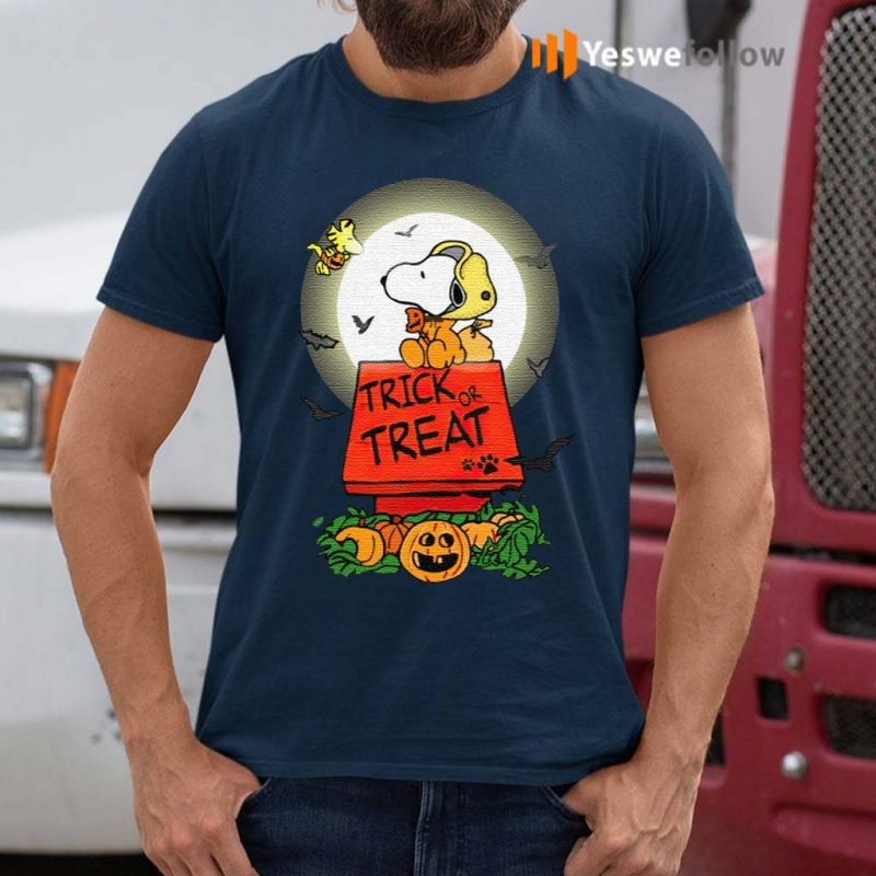 Halloween-Trick-Or-Treat-Pumbkin-Woodstock-And-Snoopy-T-Shirts