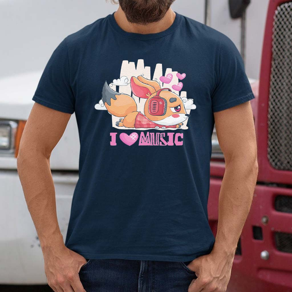 I-Love-Music---Cute-Little-Fox-Listening-To-Music-With-Headphones-Classic-T-Shirt
