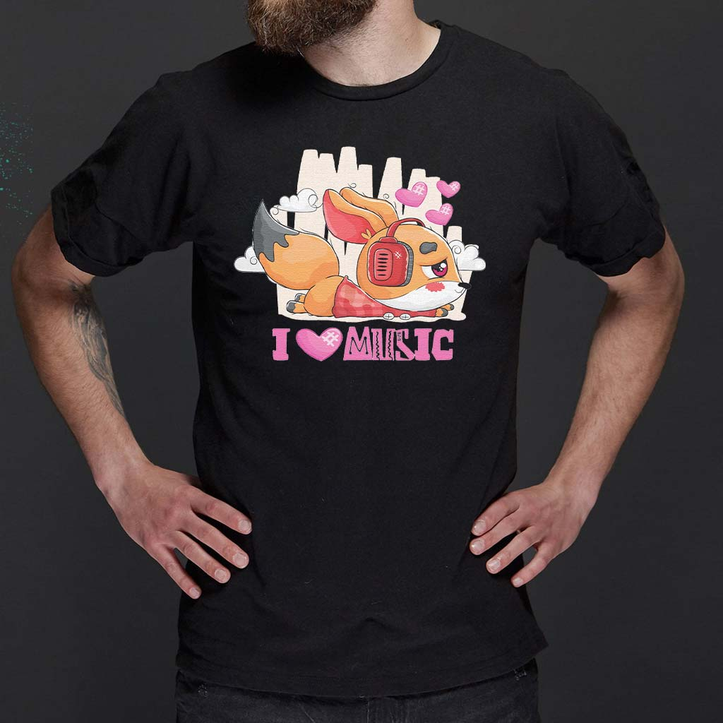 I-Love-Music---Cute-Little-Fox-Listening-To-Music-With-Headphones-Classic-T-Shirts