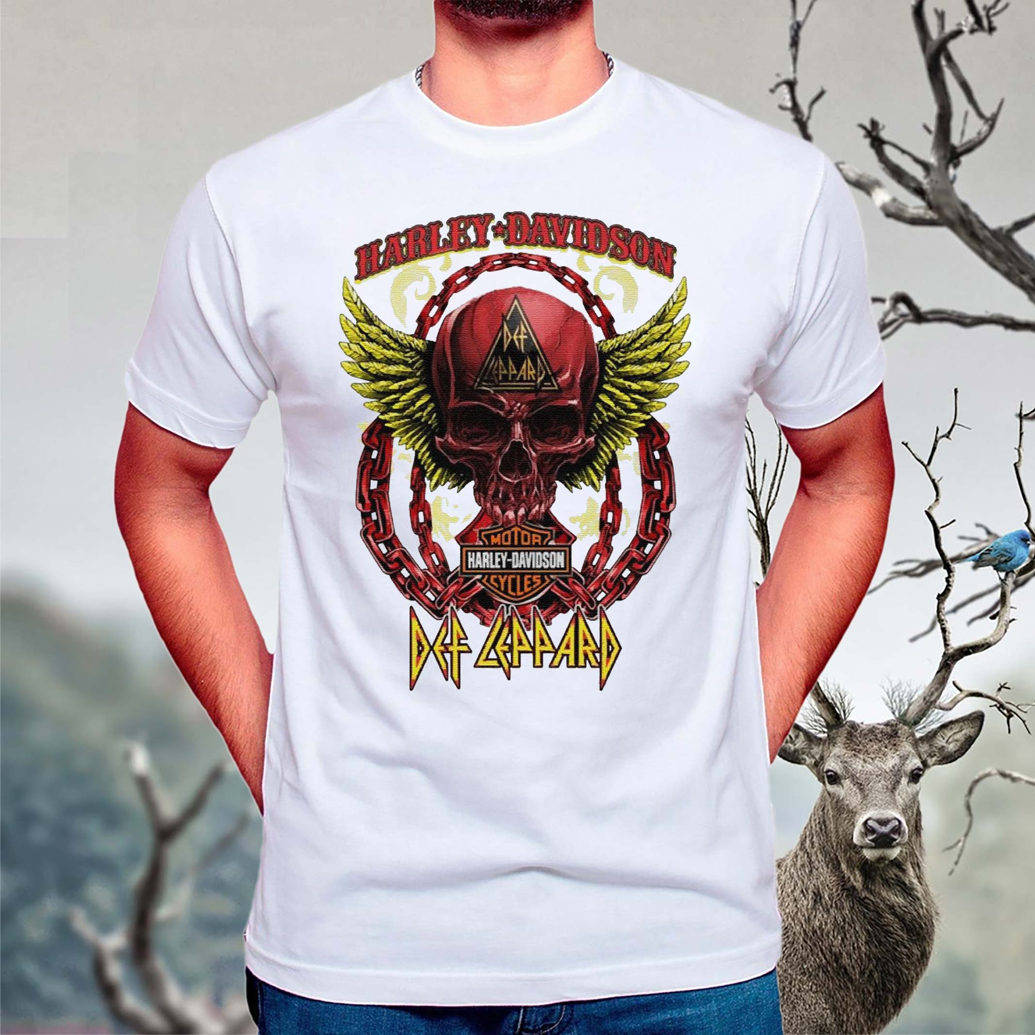 Skull-Angel-wings-Harley-Davidson-and-Def-Leppard-band-T-Shirts