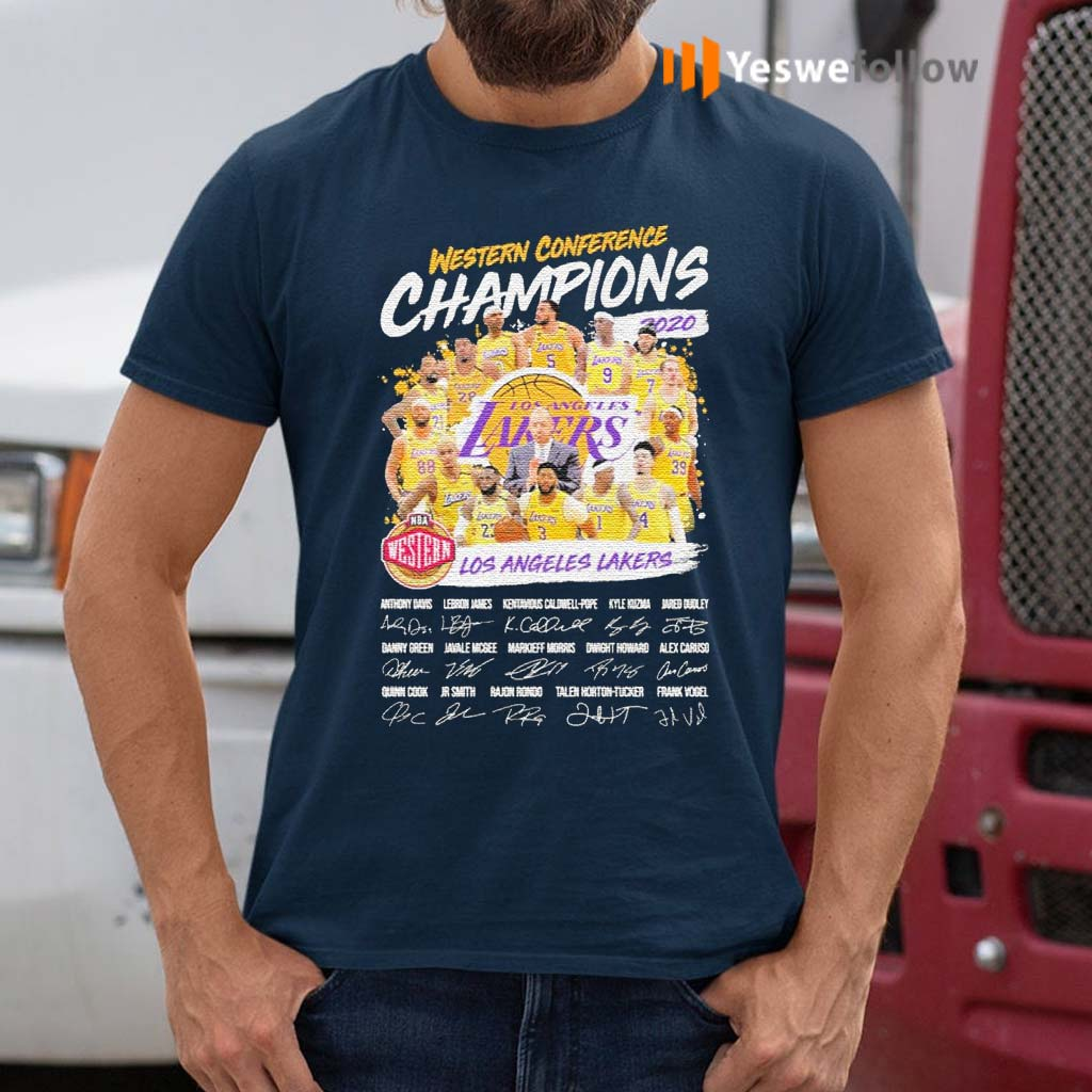 Western-Conference-Champions-2020-NBA-Los-Angeles-Lakers-signatures-shirts