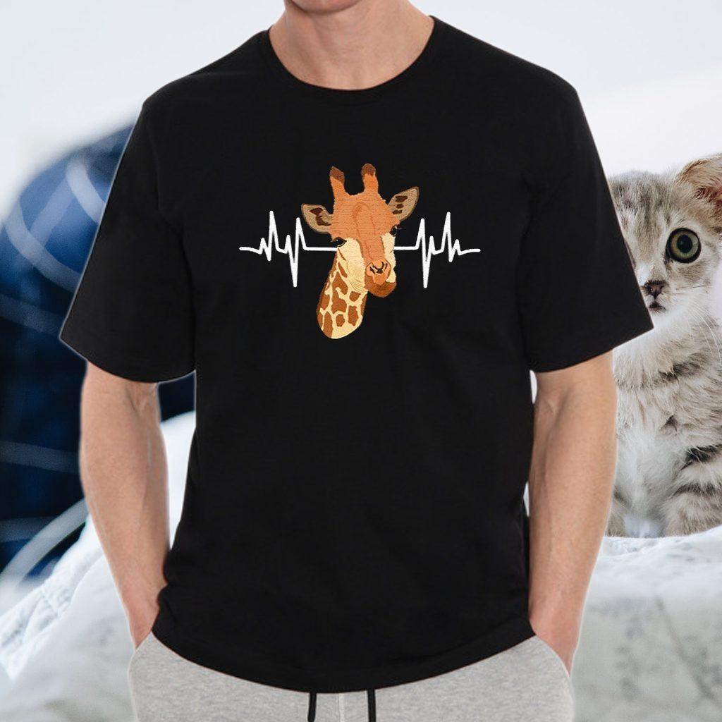 Women Giraffe Heartbeat Clothes T-Shirt