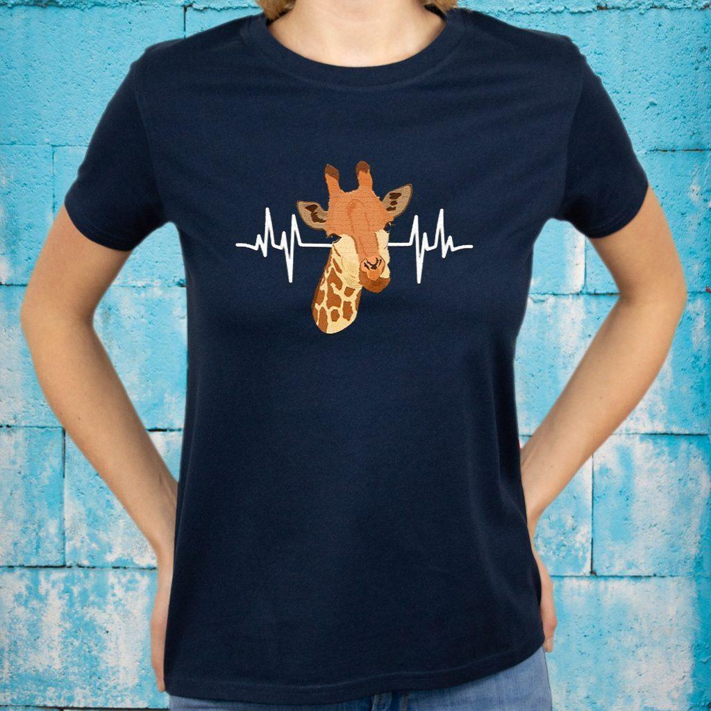 Women Giraffe Heartbeat Clothes T-Shirts