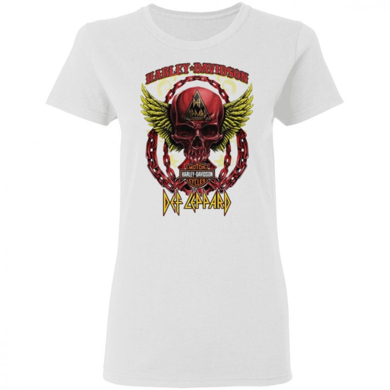 Skull Angel wings Harley Davidson and Def Leppard band T-Shirt