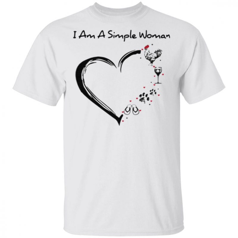 I am a simple woman love Flip flops Dog Wine and Cruise t shirt