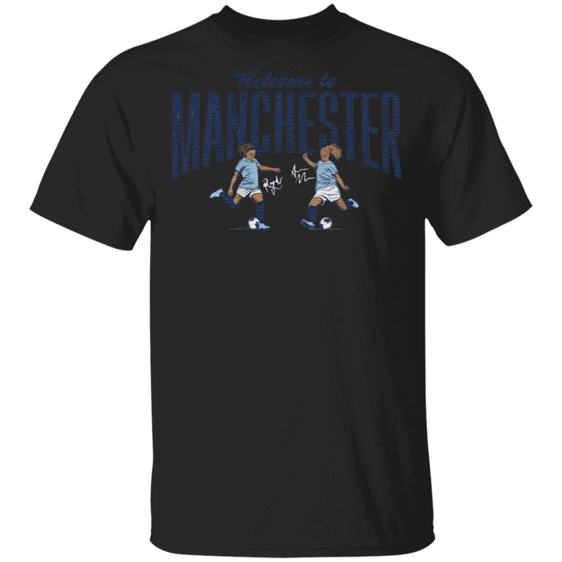 welcome to manchester blue t shirt