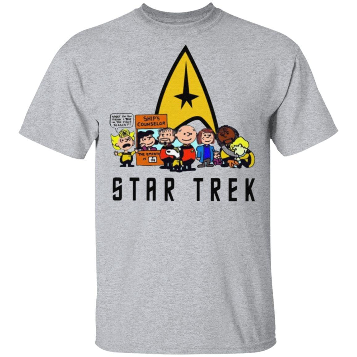 The Peanuts Characters Cartoon Star Trek T Shirt