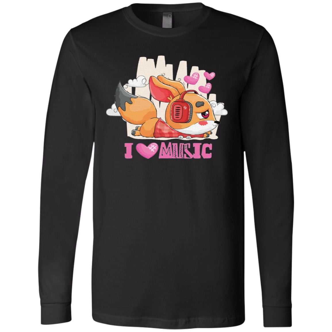 I Love Music – Cute Little Fox Listening To Music With Headphones Classic T-Shirt