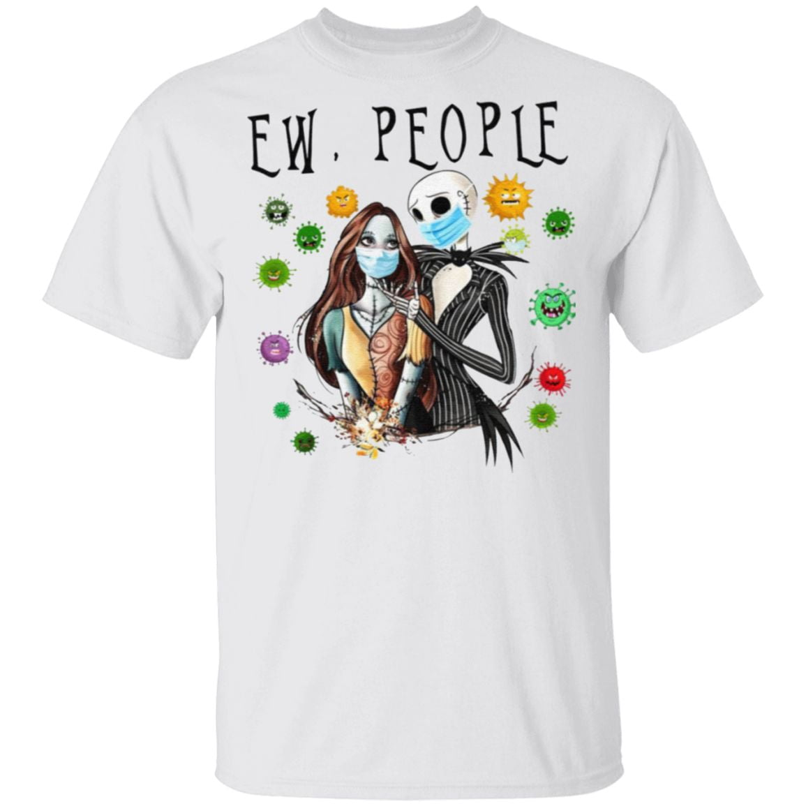 Jack And Sally Wearing Facemask Love T-Shirt