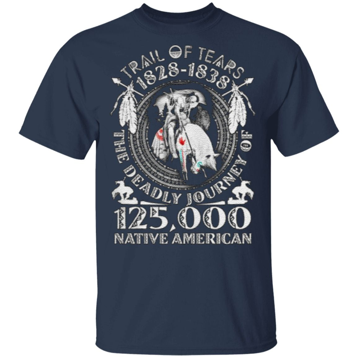 Trail Of Tears 1828-1838 The Deadly Journey Of 125000 Native American T Shirt