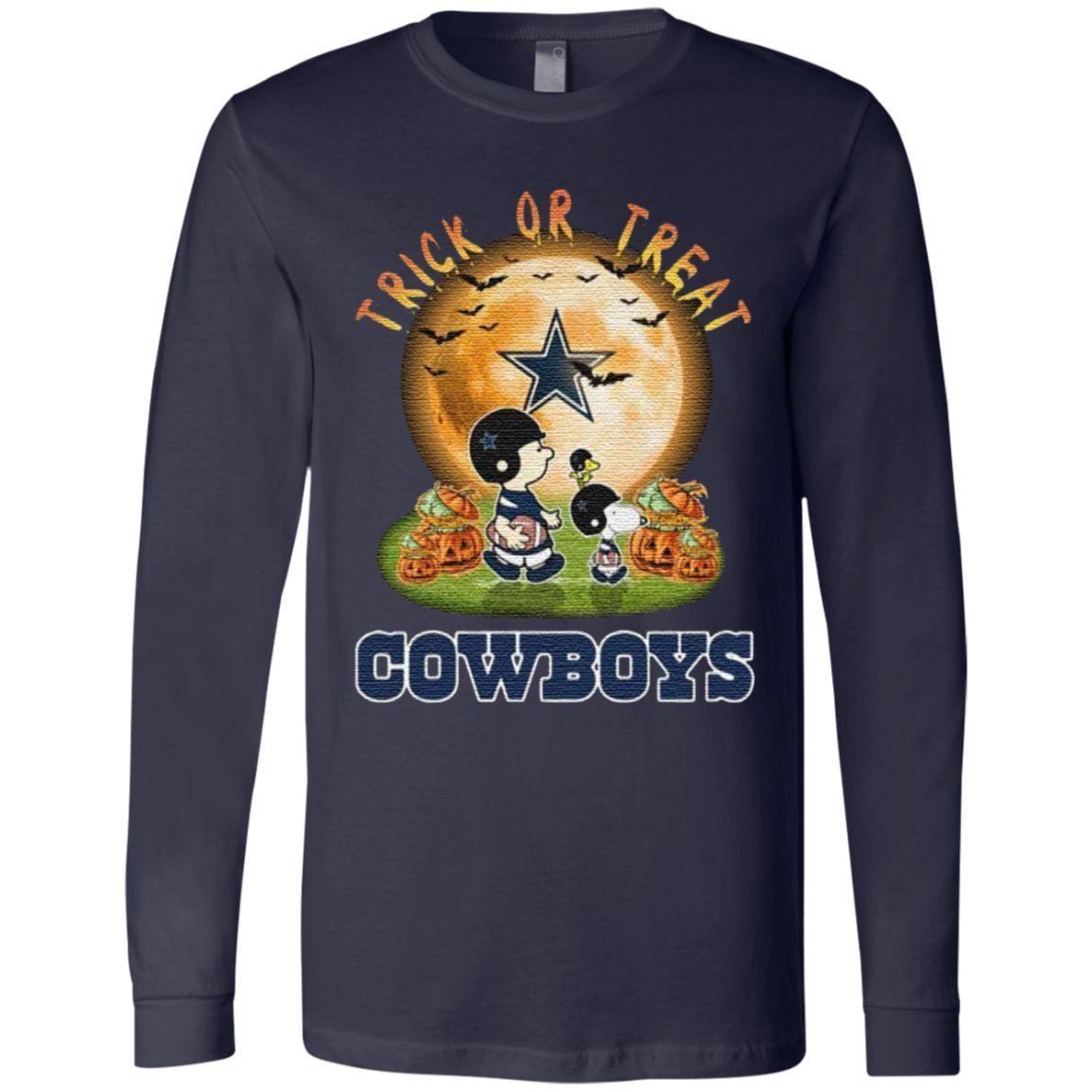 Dallas Cowboys Peanuts Snoopy Trick Or Treat Pumpkin Moon Halloween TShirt