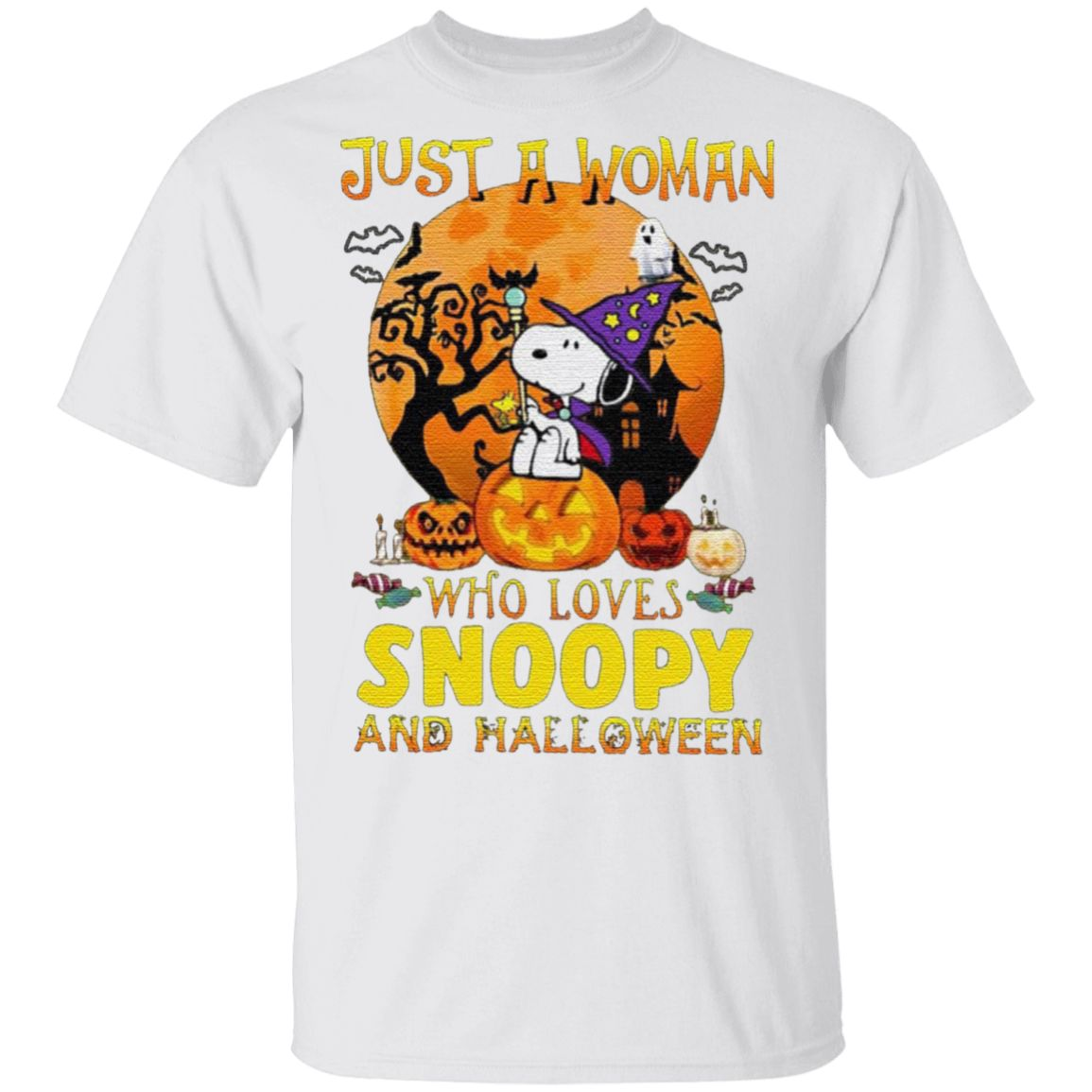 Just A Woman Who Loves Snoopy And Halloween T-Shirt
