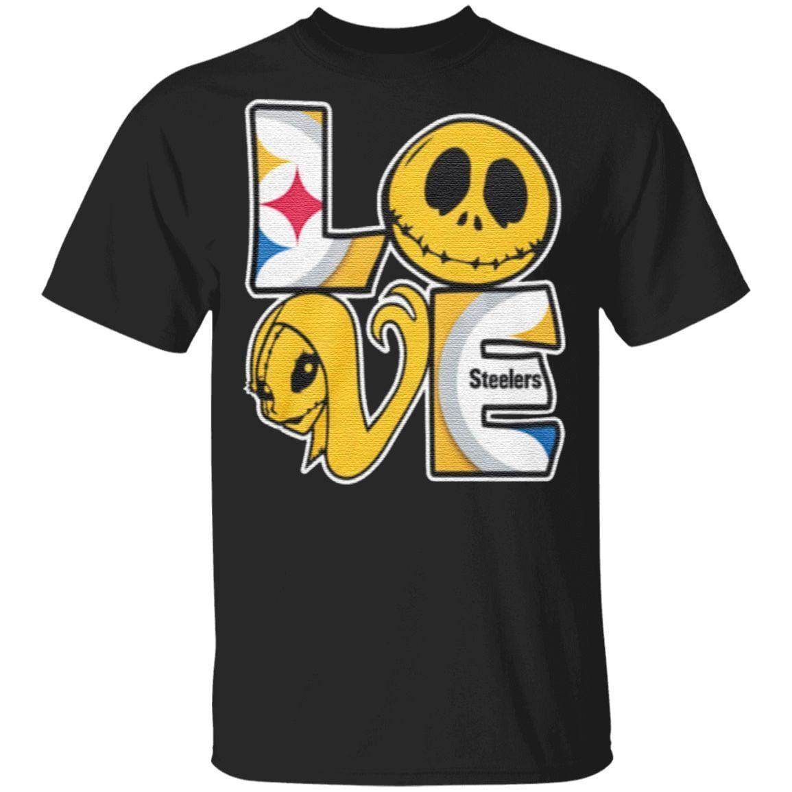 Jack Skellington and Sally love Pittsburgh Steelers t shirt