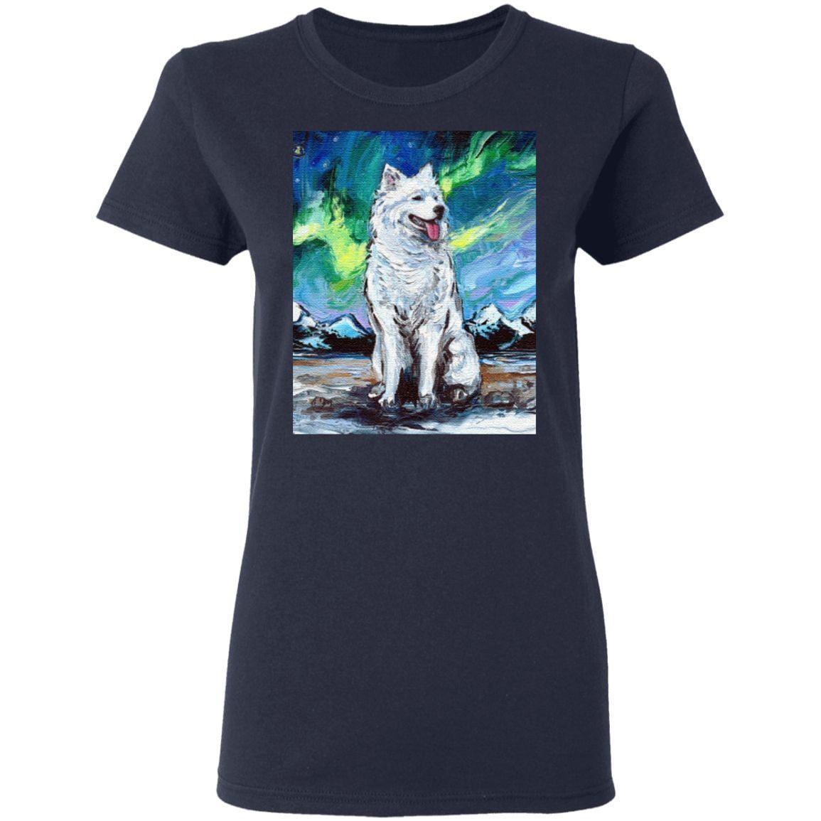 Samoyed Northern Lights Winter Aurora Dog T-Shirt