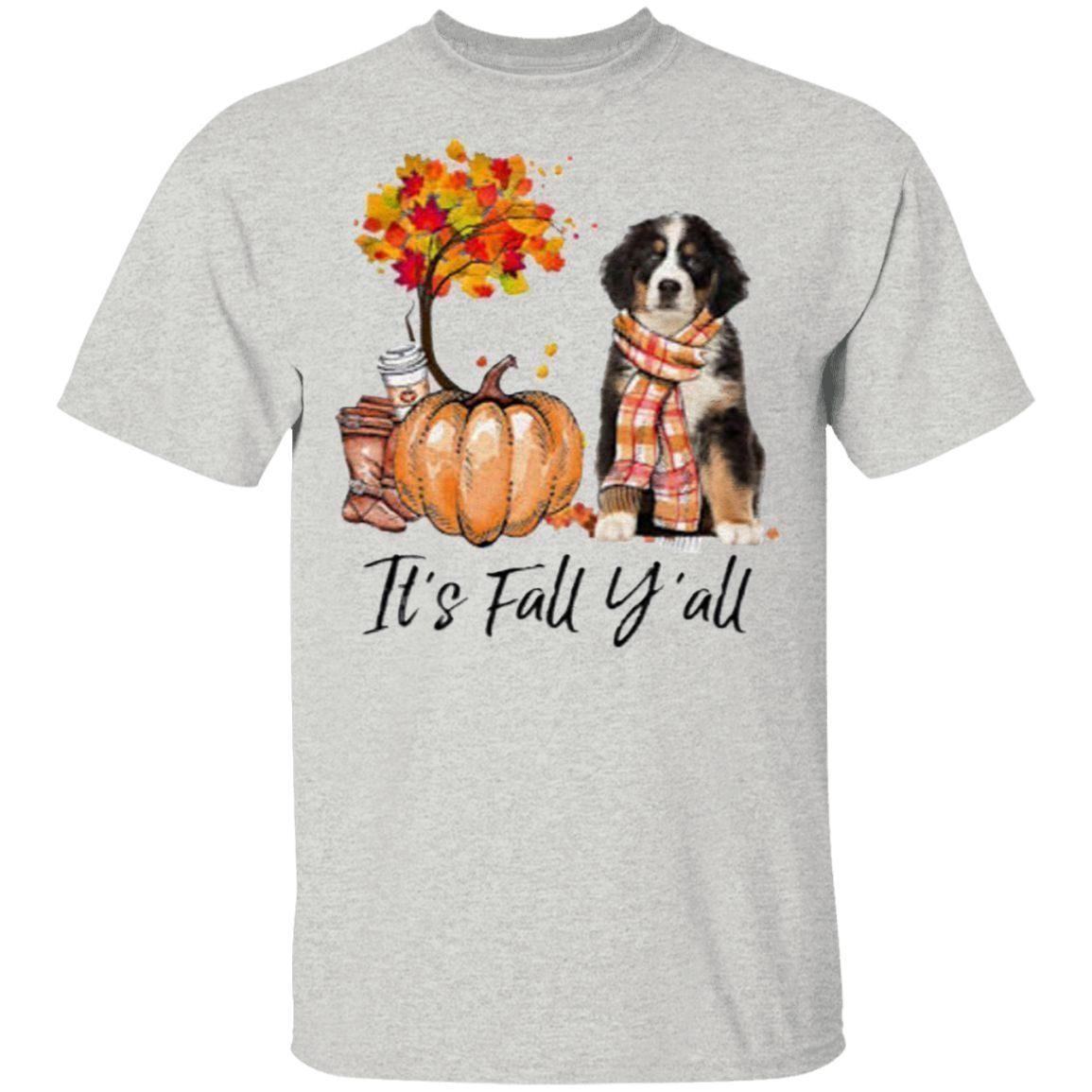 Bernese Mountain Dog It's Fall Y'all Pumpkin Halloween Shirt