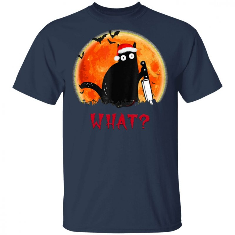 Christmas Cat What Murderous Black Cat Santa Claus Hat with Knife T-Shirt