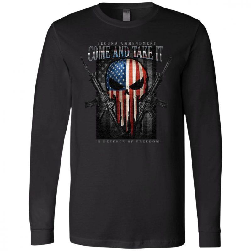 Skull American Flag Second Amendment Come And Take It In Defense Of Freedom T Shirt