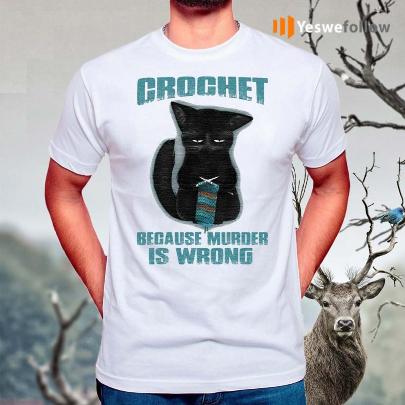 Black-Cat-Crochet-Because-Murder-Is-Wrong-Funny-T-Shirts