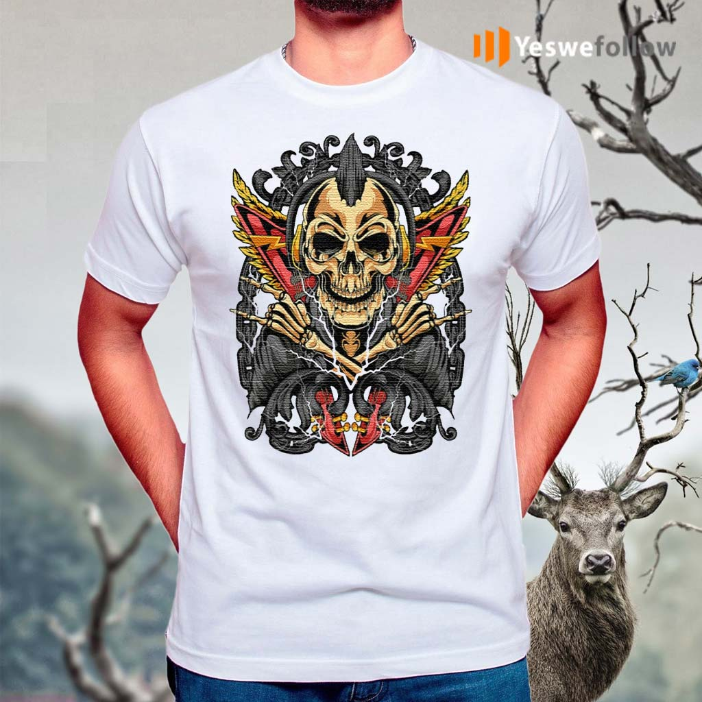Goth-Rock-Skull-Rocker-Horror-T-Shirt