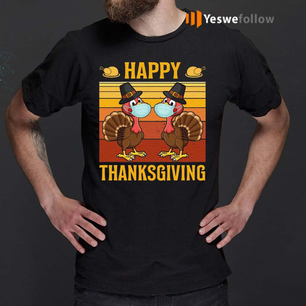 Happy-Thanksgiving-Funny-Turkey-Chickens-Wear-Mask-TShirt