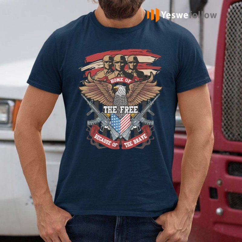 Home-Of-The-Free-Because-Of-The-Brave-Eagle-Veteran-T-Shirt
