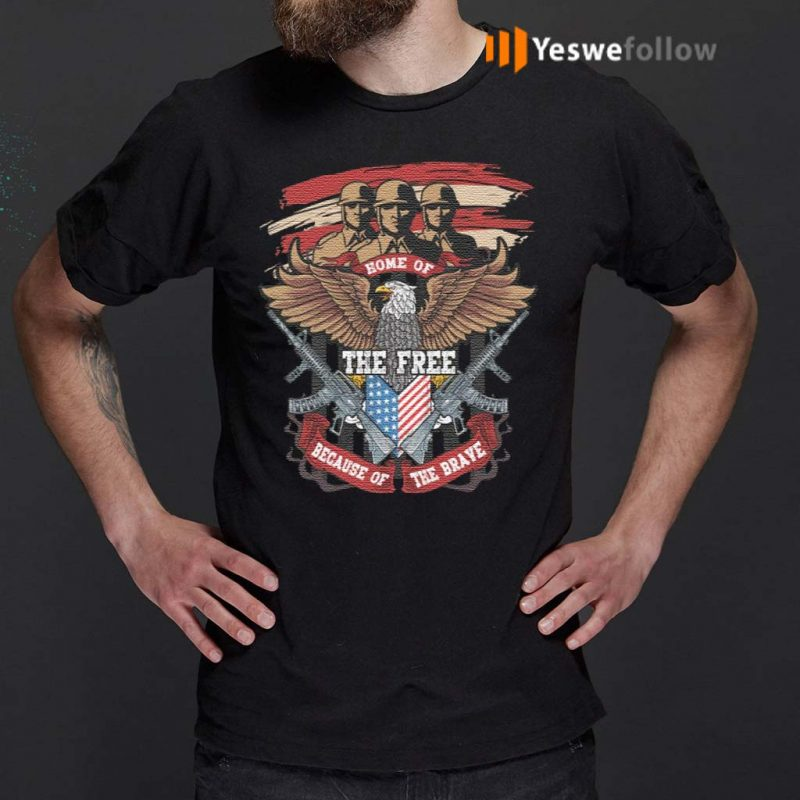 Home-Of-The-Free-Because-Of-The-Brave-Eagle-Veteran-T-Shirts