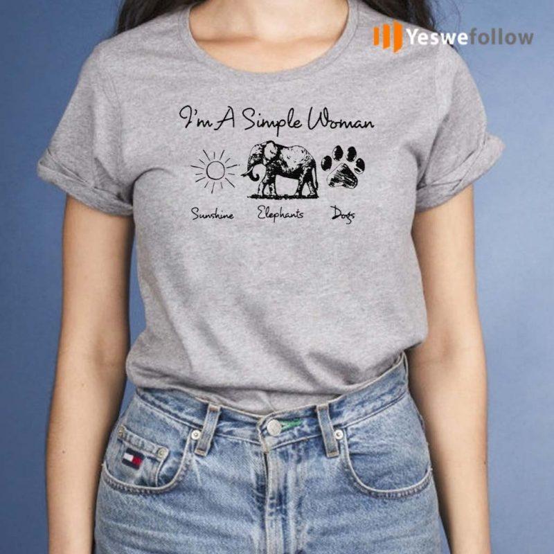 I'm-A-Simple-Woman-Sunshine-Elephant-Dogs-T-Shirt