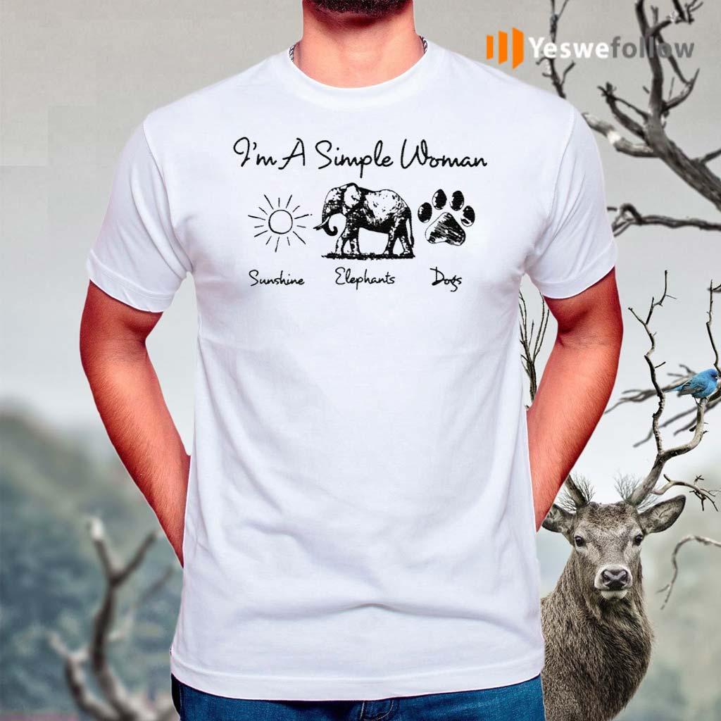 I'm-A-Simple-Woman-Sunshine-Elephant-Dogs-T-Shirts