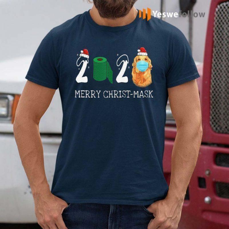 Merry-Christ-Mask-Santa-Golden-Retriever-Wearing-Mask-Shirt