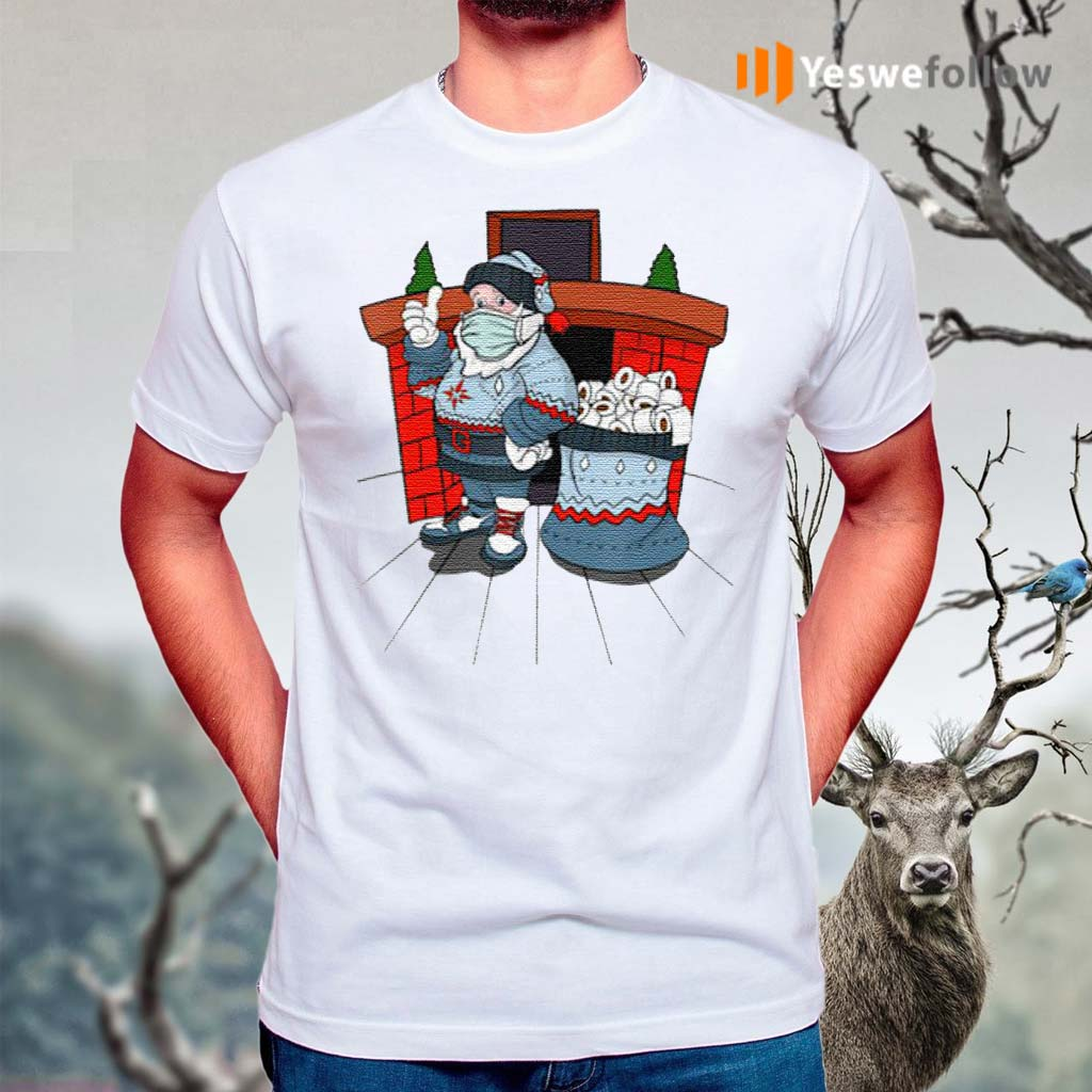 Santa-with-ugly-sweater-mask-and-a-bag-full-of-toilet-paper-t-shirts