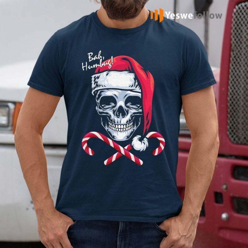 Skull-Bah-Humbug-Funny-Santa-Christmas-T-Shirts