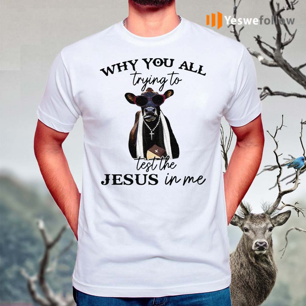Why-You-All-Trying-To-Test-The-Jesus-In-Me-Pastor-Cow-T-Shirts