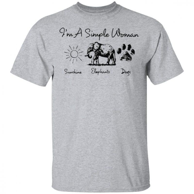 I'm A Simple Woman Sunshine Elephant Dogs T-Shirt