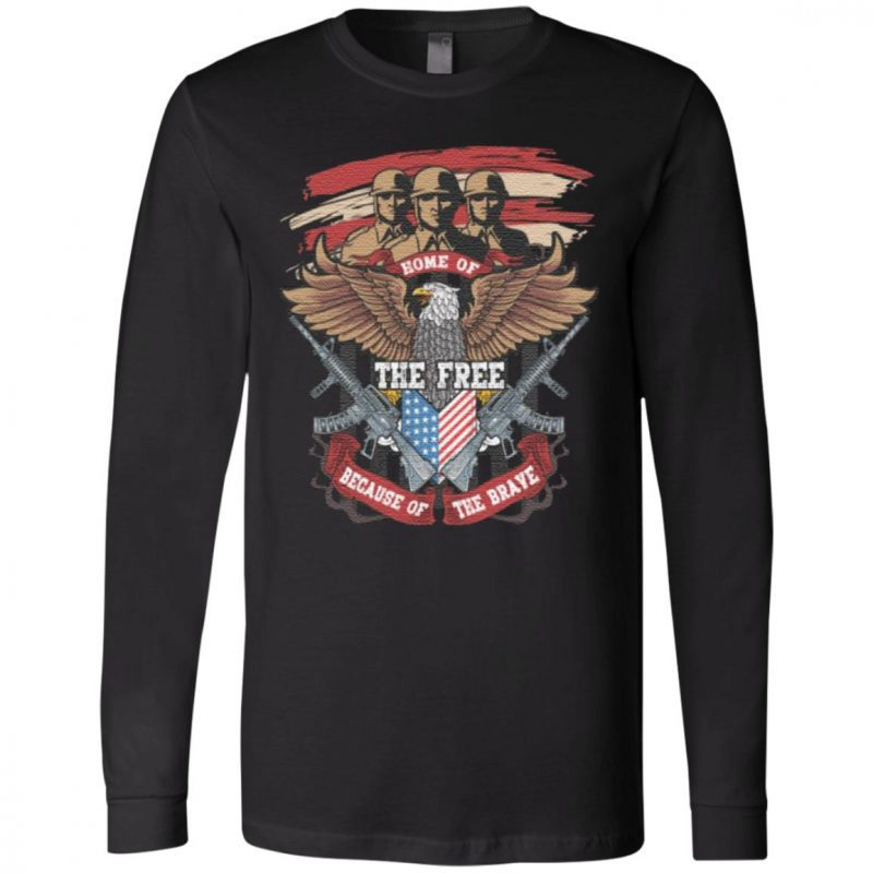 Home Of The Free Because Of The Brave Eagle Veteran T-Shirt