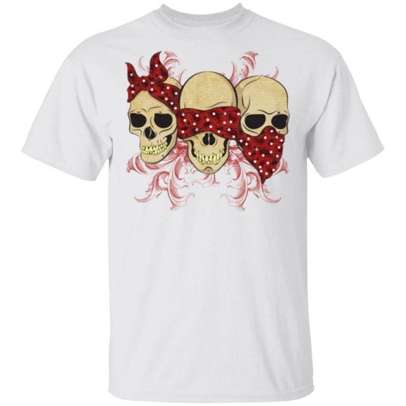 Three Skulls With Red Bandanas T Shirt