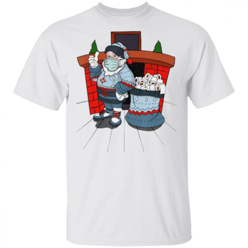 Santa with ugly sweater mask and a bag full of toilet paper t shirt