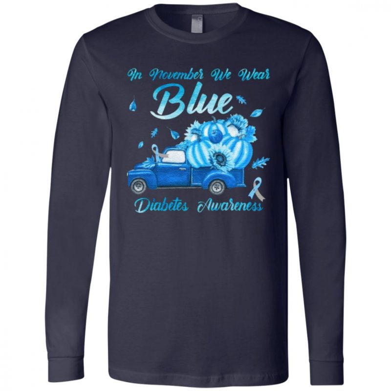 In November We Wear Blue Truck Diabetes Awareness T-Shirt