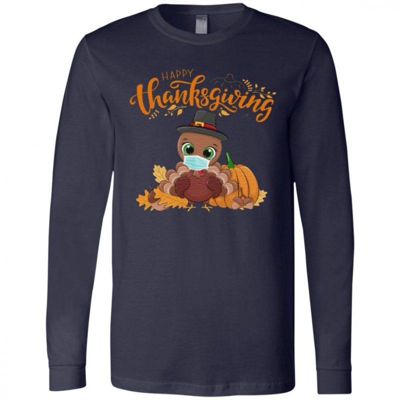Happy Thanksgiving T-Shirt – Turkey Wearing Face Mask T-Shirt