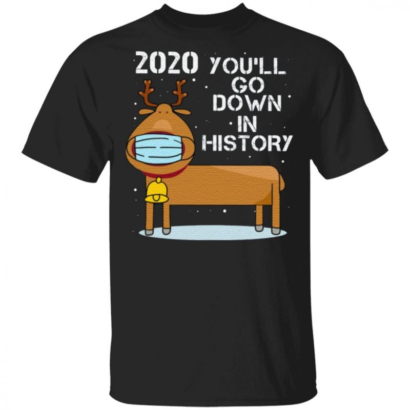 2020 You'll Go Down In History Funny Reindeer Wearing Mask T Shirt