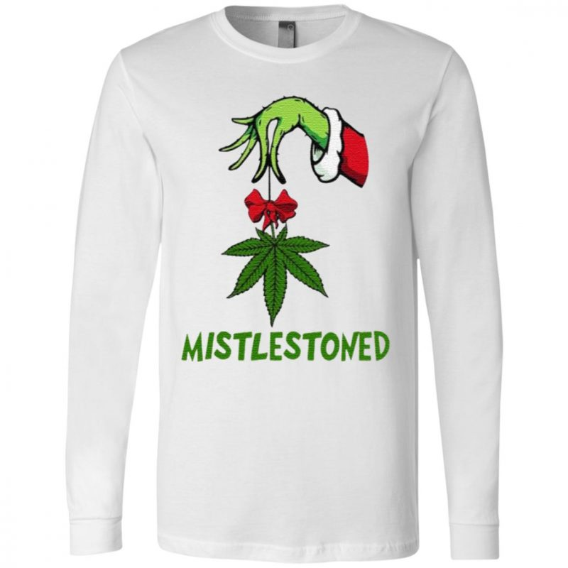 Grinch Hand Holding Weed Mistlestoned Christmas T Shirt