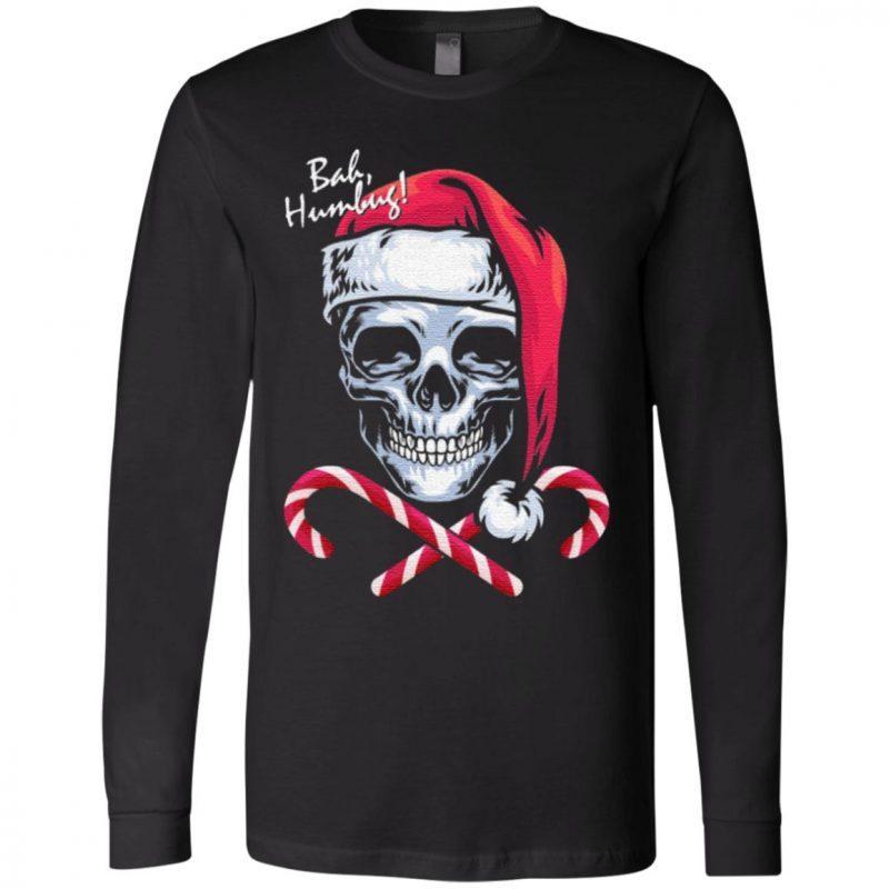 Skull Bah Humbug Funny Santa Christmas T-Shirt
