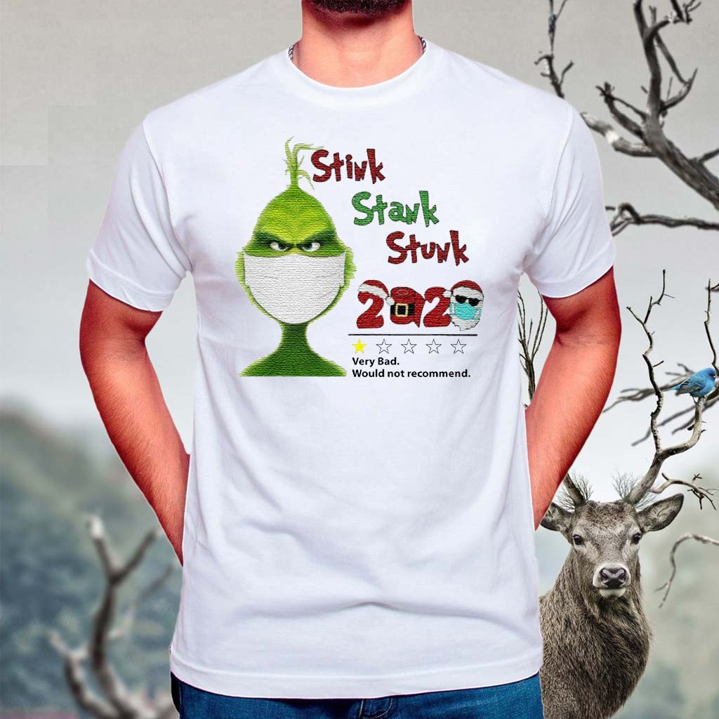 Grinch-Santa-face-mask-toilet-paper-Stink-Stank-Stunk-very-bad-would-not-recommend-2020-Christmas-shirts