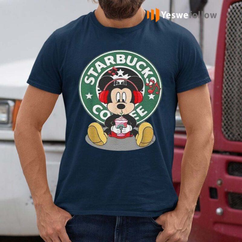Mickey-Mouse-Drinking-Starbucks-Coffee-And-Listening-Music-T-Shirt