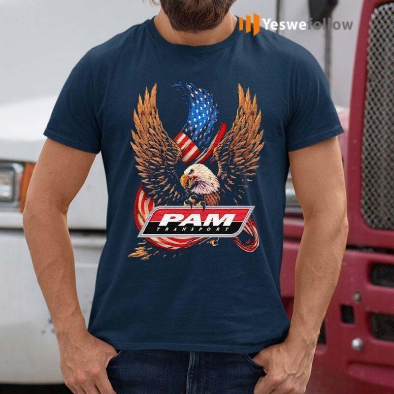 Pam-transport-eagle-American-flag-veteran-Independence-Day-shirt